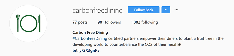 Carbon Free Dining Instagram